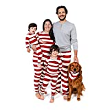Burt's Bees Baby Toddler & Kids Family Jammies, Holiday Matching Pajamas, 100% Organic Cotton PJs, Red Rugby Stripes, 3T