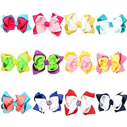 Fascigirl Horquilla para Niños, 12 Piezas Barrettes para el Cabello Boutique Ribbon Bow Clips para Niñas