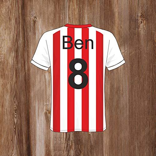 Rood en wit gestreept voetbal shirt slaapkamer deur teken gepersonaliseerd met elke naam