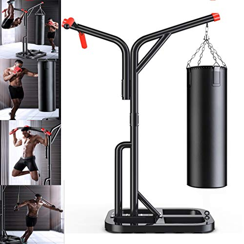 Heavy-Duty Boxing Rack, 8 in 1Adjustable Power Tower, Multi Function Pull up Station, Free Standing Boxing Punching Bag Rack for Home Fitness Gym (from US 3-7 Days, Black)