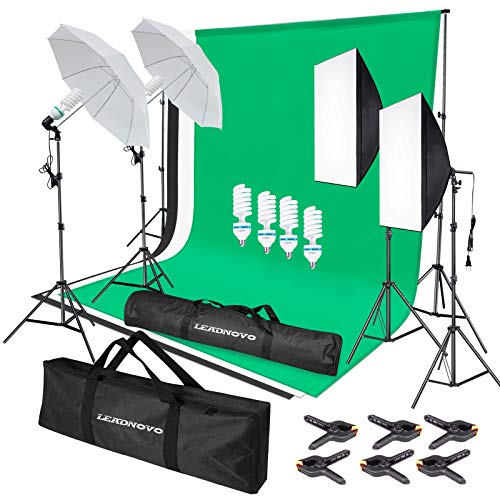 LEADNOVO Photography Softbox Lighting Kit, 6.5 x 10ft Backdrop Stand System and E27 135W 5500K CFL Bulbs Softbox and Umbrellas Continuous Photo Lighting (Lighting Kit with Green/White/Black)