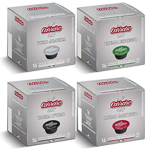 64 Lavazza A Modo Mio? Compatible Coffee Capsules | Pods, Carraro Starter Pack.|16 Capsules per Carton | 4 Cartons per Box.