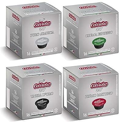 64 Lavazza A Modo Mio® Compatible Coffee Capsules   Pods, Carraro Starter Pack. 16 Capsules per Carton   4 Cartons per Box.