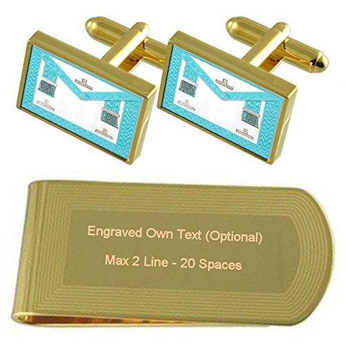 Select Gifts Artesanía masónica de adoración Master Regalia Delantal de Tono Oro Gemelos Money Clip Grabado Set de Regalo