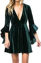 Caitefaso Womens Velvet Party Dresses Plunge 3/4 Sleeve Elegant A Line Swing Skater Dress Mini Gowns