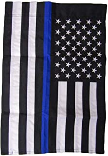 ALBATROS 12 in x 18 in Embroidered USA Police Thin Blue Line Rough Tex 300D Nylon for Home and Parades, Official Party, All Weather Indoors Outdoors