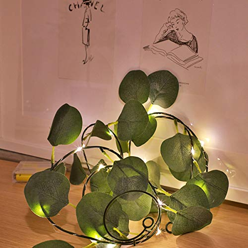 Jinjiang Ivy Garland Each Vine Includes 100 LEDs, Fake Ivy Garland Vine Green Leaves Used for Wedding banquets, Party Parties Luminous Ivy Garland (Green Leaf Vine Model 10 Meters 100 Lights)