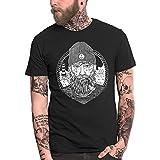 VIENTO Real Captain Camiseta para Hombre (L, Negro)