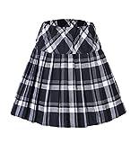 Urban GoCo Mujeres Falda Escocesa Plisada con Cintura Elástica Escuela Uniforme Falda Cuadros (XL, 1 Blanco)