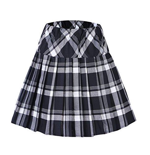 Urbancoco Damen Schulmädchen-Stil Tartan Skater Röcke (S, #1 weiß)