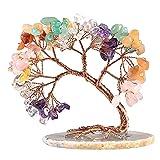 Arbre de pierre de cristal unique: La figurine d'arbre de cristal prend la forme d'un pin incurvé, faite de pierres de cristal roulées comme feuilles, d'une tranche d'agate comme base, de fils de cuivre torsadés à la main en branches et troncs. En ra...