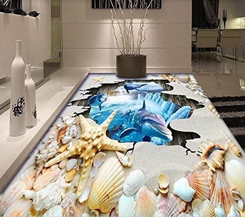 Suelo Viniloco Mural De Suelo 3D Personalizado, Papel Tapiz Fotográfico, Papel Tapiz De Suelo De Concha De Playa, Dormitorio, Sala De Estar, Baño, Adhesivo Impermeable De Pvc 3D-430 * 300Cm Para Hab