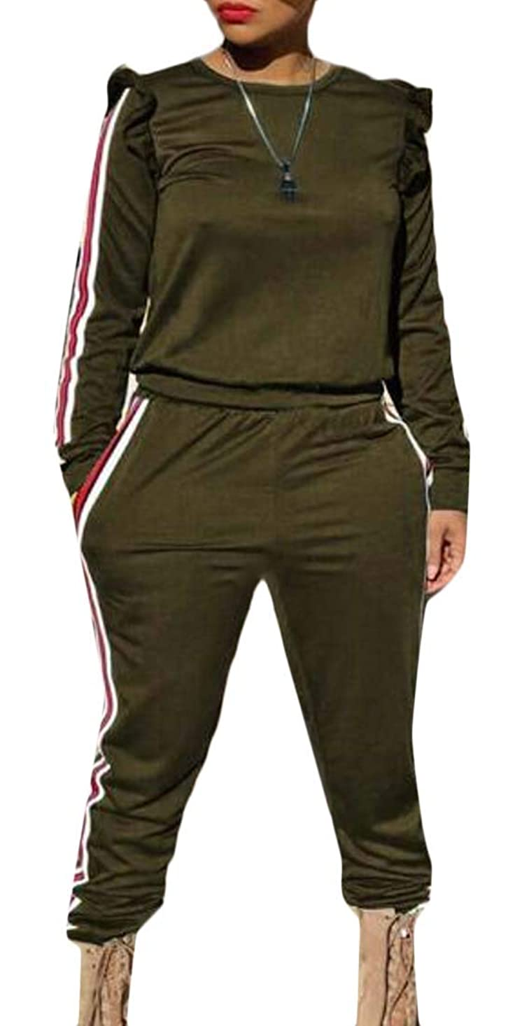 寄付するわなスチュワーデス女性の2つの部分服装ラッフルスリーブのトレーナーとズボントラックスーツ