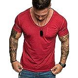 Reooly Hombres Cuello Redondo Slim Color sólido Rayas Falso Dos Camisetas de Manga Corta con Capucha(F1-Rojo,M)