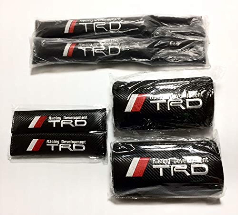 TRD シートベルトカバー×2 シートサイド隙間クッション×2 ヘッドレスト×2 TOYOTA トヨタ 6点セット (ヘッドパッド コンソールスペーサー ショルダーパッド)