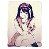 3D Printed Blanket | Anime&Haruhi Suzumiya SOS Pout Cartoon Characters Blanket Quilt | Soft Plush Fleece Sherpa Throw Blanket Gift for Anime&Fans and Otaku 80 x 60 inches
