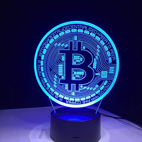 Ilusión Optica Lámpara 3D Bitcoin Luz de Noche 7 Colores que Cambian USB Poder Touch Switch Decor Lámpara LED Mesa Lámpara Niños Juguetes Cumpleaños Navidad Regalo