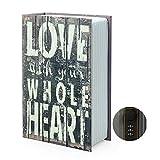 Caja de almacenamiento con forma de diccionario, caja de seguridad secreta con cerradura de combinación / llave, libro de devolución de caja fuerte oculta (bloqueo de contraseña, amor)