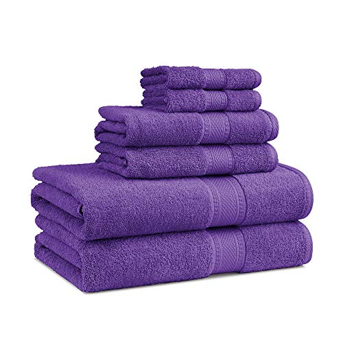 EuroSpa | Luxury 6 Piece Bath Towel Set | 100% Cotton Quick Dry | Highly Absorbent Bathroom Towels | Ultra Soft | Large - 580 GSM (2 Wash Cloth, 2 Hand Towel, 2 Bath Towel) | Lilac Color