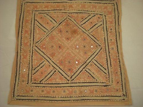 Goethnic Housse pour coussins en coton faite à la main avec broderies et effet miroir Motifs Rangoli carré/couleur fauve