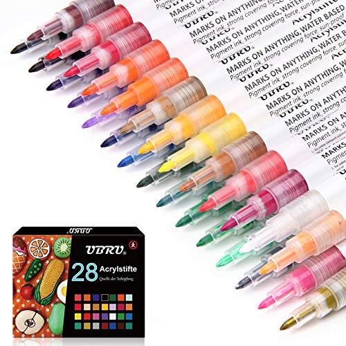 UBRU Acrylstifte 0.7mm Feine Spitze, 28 Farbauswahl Permanente Marker Wasserfeste Acrylfarben Stifte für Stein Papier Gläser Kleidung Leinwand Holz DIY Fotoalbum mit 1 Stofftasche
