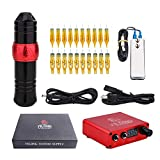 YILONG KingKong Pen Tattoo Machine Kit Rotary Tattoo Machine 20PCS Cartridge Needles With DC Cord and Digital Power Supply For Tattoo Artists (RED)