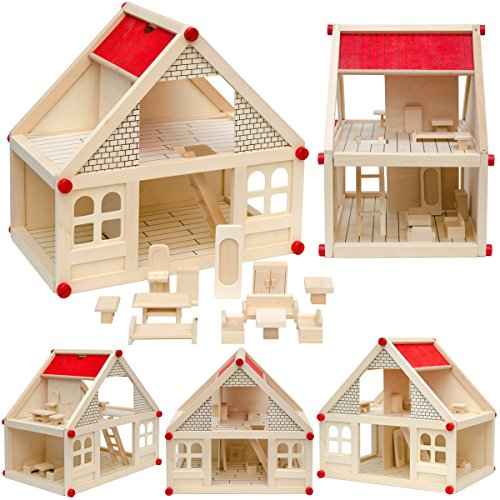 LittleTom 2-stöckiges Puppenhaus mit passenden Möbeln - Puppenstube aus Naturholz Holzpuppenhaus