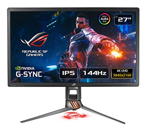 ASUS ROG SWIFT PG27UQ 27'' 4K Gaming Monitor, 144 Hz, G-SYNC Ultimate, △E<3, 384 Zones Local Dimming, Quantum Dot, 97% DCI-P3, DP, HDMI, USB 3.0, AuraSync, HDR 1000, Certificazione UHD Premium
