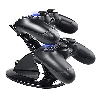 PS4 Controller Charger,Tiancai Dual USB Charging Charger Docking Station Stand Compatible Playstation 4 / PS4 / PS4 Pro / PS4 Slim Controller--Black