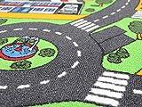 Spielteppich Autoteppich Straßenteppich City - 95x200 cm, Anti-Schmutz-Schicht, Auto-Spielteppich für Mädchen & Jungen, Kinderteppich Strasse Fußbodenheizung geeignet - 8