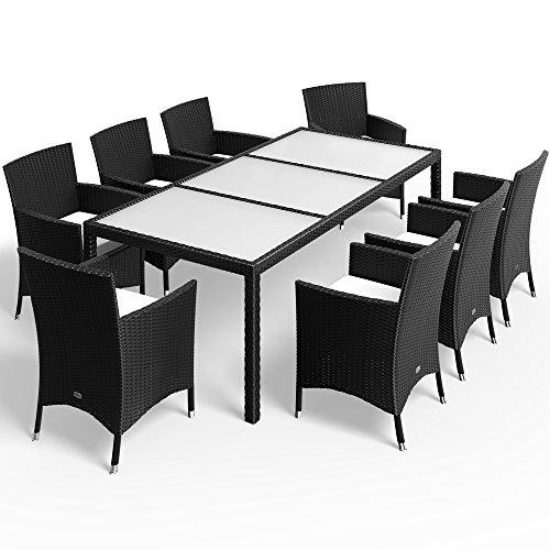 Deuba Conjunto de jardín Set de 1 Mesa y 8 sillas apilables con Cojines Juego de Muebles Exterior