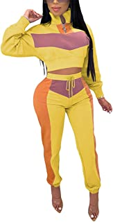 OLUOLIN Womens Color Block Casual Two Pieces Outfit Sweatsuit Zipper Crop Top Drawstring Long Pants Tracksuit
