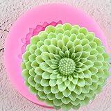 GEYKY Moldes de Silicona de Flor de crisantemo Lotus Cupcake Topper Cake Decorating ToolsClay Candy Chocolate Gumpaste Moulds
