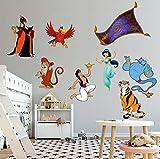 YJYG 3D Adhesivos de pared Super Set Wall Decal Decal Diy Mural Disney Jasmine