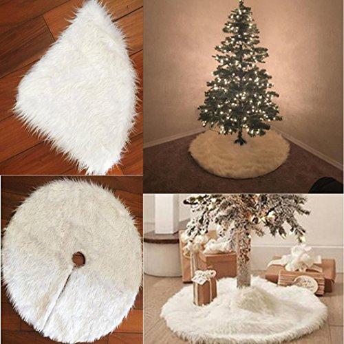 Décorations de Noël,Fulltime®Arbre De Noël Jupe En Peluche Cheveux Longs Décor,Blanc (90mm)