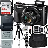 Canon PowerShot G7 X Mark II Digital Camera (Black) with Essential Accessory Bundle - Includes: SanDisk Ultra 64GB SDXC Memory Card, 1x Replacement Battery, 57' Tripod, Carrying Case & More