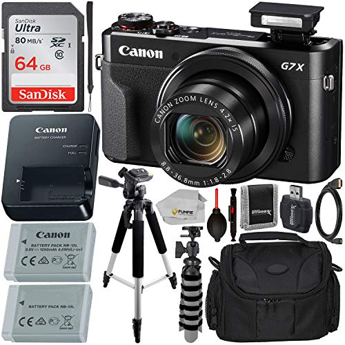Canon PowerShot G7 X Mark II Digital Camera (Black) with Essential Accessory Bundle - Includes:...