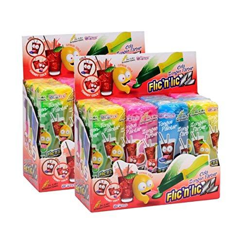 Flic'n'lic Lutscher XL Zungenfärber mit fruchtigem Geschmack 12 Stk. (2er Pack)