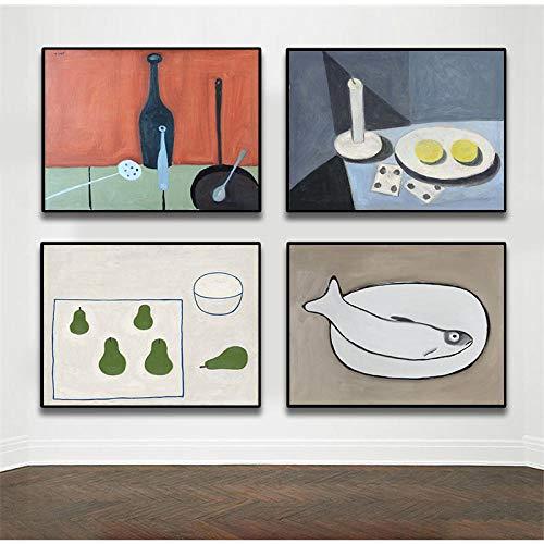 Stilleven Bord Beker Voedsel Abstracte prints en posters Canvas Schilderijen Muur Decoratief Modern Keuken Woonkamer Huisdecoratie 40x50cmx4 Geen frame
