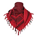 TACVASEN Head Wraps Shemagh Arab Tactical Keffiyeh Scarf Wrap Red,One Size