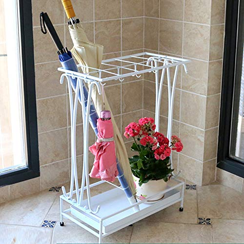 Umbrella Holder with Removable Drip Tray and 8 Hooks,Antique Metal Umbrella Stand Free Standing,Industrial Umbrella Rack for Home Office Entry Hallway Patio Decor(White)