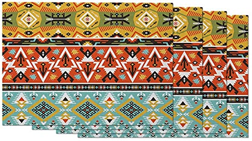 Geometric Pattern Placemats Set of 4 Tribal Ethnic Mexican Colorful Triangle Striped Placemats for Dining Table 12X18 Inch Cotton Linen for Home Kitchen