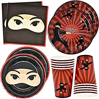 """Ninja Warrior Party Supplies Tableware Set 24 9"""" Paper Plates 24 7"""" Plate 24 9 Oz Cup 50 Lunch Napkins for Ninjas Master W..."""