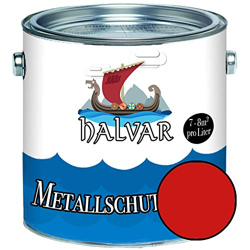 Halvar Metallschutzlack GLÄNZEND Rot RAL 3000-3031 Metallfarbe besonders robuster Kunstharzlack Wetterbeständig & perfekter Langzeitschutz Metall (1 L, RAL 3000 Feuerrot)