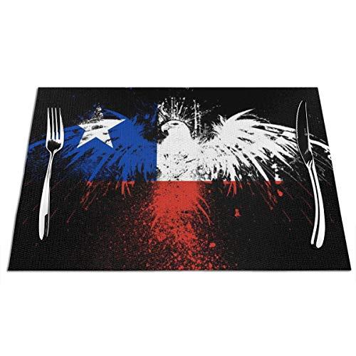 Juego de 6 manteles individuales de la bandera de Chile de GAHAHA para mesa de comedor, duraderos, lavables, fáciles de limpiar, resistentes a las manchas, negro, 1 unidad