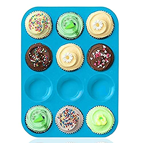 Silicone Muffin Tray Cupcake Baking Pan 12 cup Non  Stick Silicone Mold Dishwasher  Microwave Safe by Amison Blue