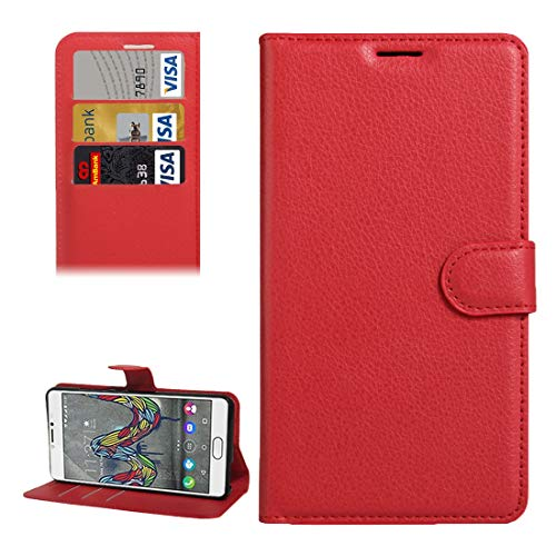 CHENCHUAN Case Hüllen for Wiko UFeel Fab Litschi Textur Horizontal Flip PU Ledertasche mit Halter und Kartensteckplätze und Geldbörse (Schwarz) für Wiko Handy (Farbe : Red)