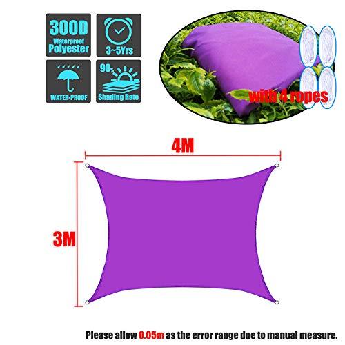 SFYUAN Lila 300D Sonnenschirm Segel Quadrat Rechteck Home Outdoor Garten Wasserdichter Baldachin Patio Pflanzenschutz UV Block Markise Dekoration-3x4m