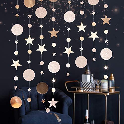 Bifowit Star Discs Garland Ribbon Christmas Home Decoration Bedroom Bedside Living Room Dormitory Kindergarten Apartment Office (F)