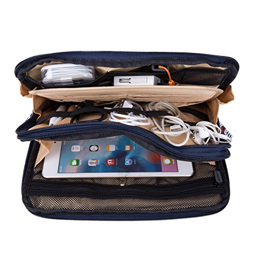 UBORSE Electronics Organizer Case for Various Accessories Cable Phone Tablet Power Bank Cosmetic Home&Travel Portable Carry on Bag, Blue